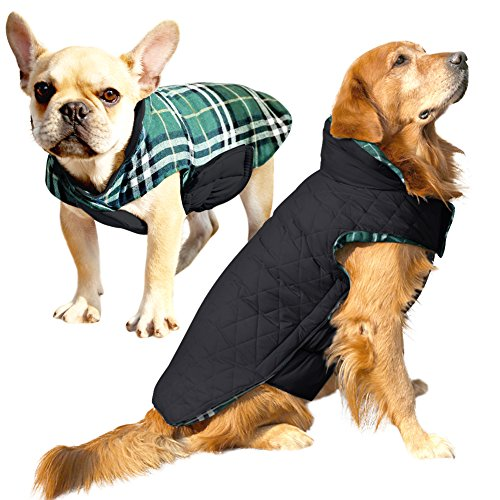 Albabara Dog Coat British Style Plaid Dog Winter Vest Cozy Waterproof  Windproof Reversible Dog Jacket Pet c9b5c92f8