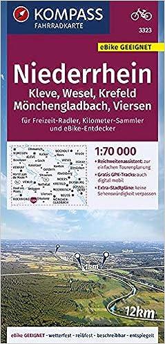 Kompass Fahrradkarte Niederrhein Kleve Wesel Krefeld