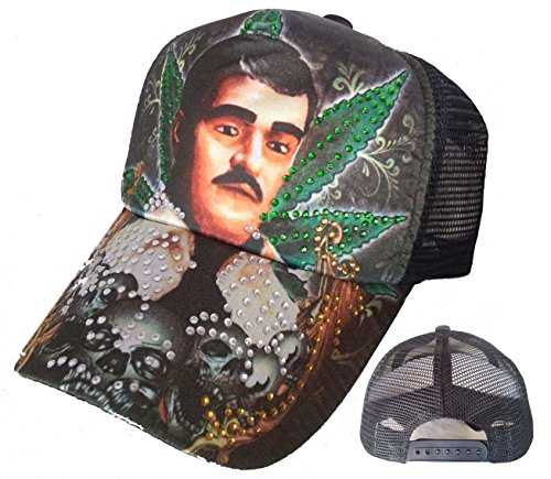 (TATTOO Jesus Malverde Skull Rhinestone Trucker Mesh Fashion Ball Cap Hat)