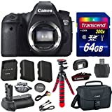 Canon EOS 6D 20.2 MP Full-Frame CMOS Digital SLR Camera Body Bundle with Transcend 64GB Memory Card + Canon Deluxe Case + 12 Spider Tripod + Battery Power Grip + Extra Battery + Memory Card Reader