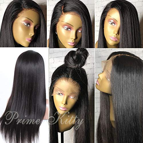 360 Lace Wig Pre Plucked Hunman Hair Wigs Silky Straight Human Hair Wigs for Black Women with Baby Hair 360 Wig 360 Lace Frontal Wig for High Ponytail Updo 360 ()