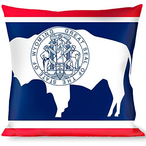 Buckle Down Wyoming Flags Throw Pillow, Multicolor [並行輸入品] B07R6YZB5Q
