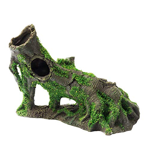 Resin Ornament Sunken Temple - OMEM Reptile Decorations for Terrarium Habitat Decor Landscaping Aquarium Fish Tank Ornament Simulated Moss Porous Sunken Wood