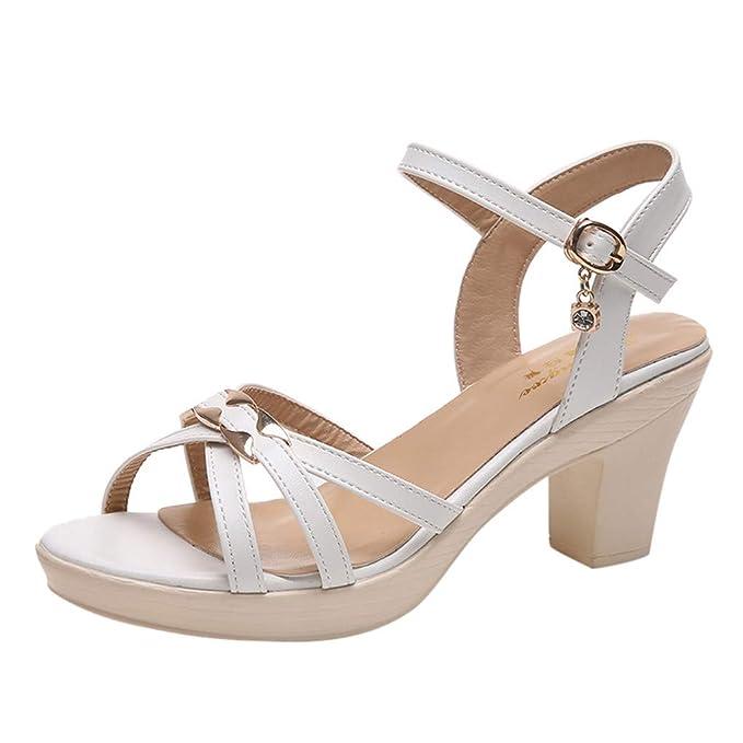 3179a296ee07 Beikoard-scarpa Sandali con Cinturino alla Caviglia Donna Piazza radice  Pesce ugello Impermeabile Tavolo Tacchi Alti-Sandali alla Schiava  Multi-Strap Donna: ...