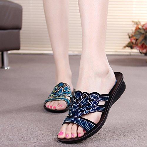 ZPPZZP Ms sandali pantofole trapano artificiale spessa di mezza età i vecchi 36EU blu