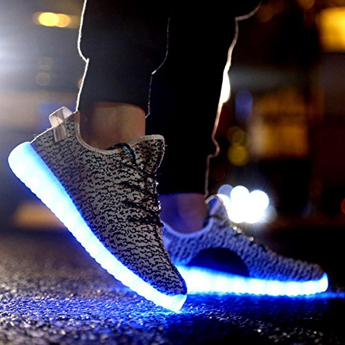 Eshion Usb Charge Led Lumière Chaussures Hommes Et Femmes Clignotant Sneakers Gris