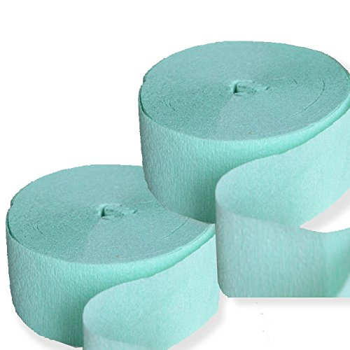 2 Mint Green Streamers 81 FT Crepe Paper Party Decoration - Crepe Streamer Party Decoration