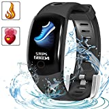 Fitness Tracker Waterproof Activity Monitors - LUXSURE Watch Bracelet Heart Rate Sleep Health Tracker Step Counter Notification Alerts Smart Wristband for IOS/Android Smartphones (Fashion Black)