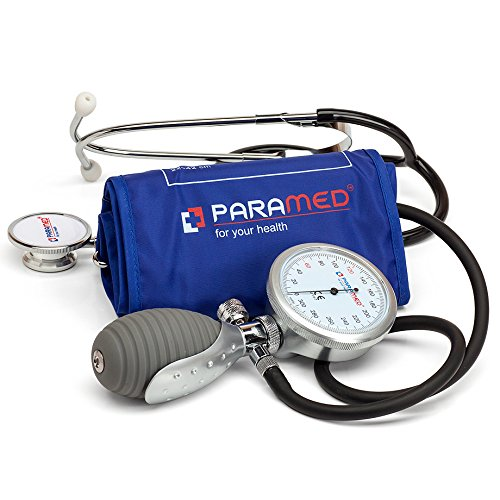 Aneroid Sphygmomanometer with Dual Head Stethoscope and Carrying Case by Paramed - Professional Manual Blood Pressure Cuff - Lifetime Calibration for Guaranteed Accuracy(Dark - Blood Monitor Stethoscope Pressure
