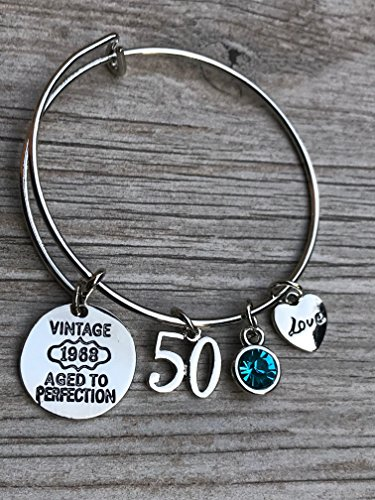 50th Birthday Bangle Bracelet with Birthstone Charm, 50th Birthday Gifts for Women, Vintage 1968 Aged to Perfection Bracelet. 50th Bday Gifts for Her by Infinity Collection
