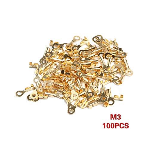 Davitu 100pcs/lot Copper Circular Splice Terminal 3.2/4.2/5.2/6.2mm Dia Wire Naked Connector Bare Ring Lug Terminal Connector - (Color: 100pcs M3) ()