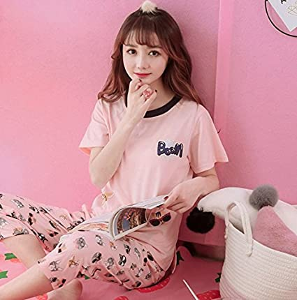 Amazon.com: Blue Stones Women Clothes for Summer Pajamas Sets O-Neck Sleepwear Lovely Rabbit Pijamas Mujer Short Sleeve Cotton Sexy Pyjamas Female: Kitchen ...