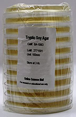 Tryptic Soy Agar Pre-poured Petri Dishes pk/10 Plates
