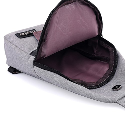 Simple Shoulder Waterproof Messenger Chest Bag Sunbobo Retro grey Zipper Color Bag Canvas 4F8wdq