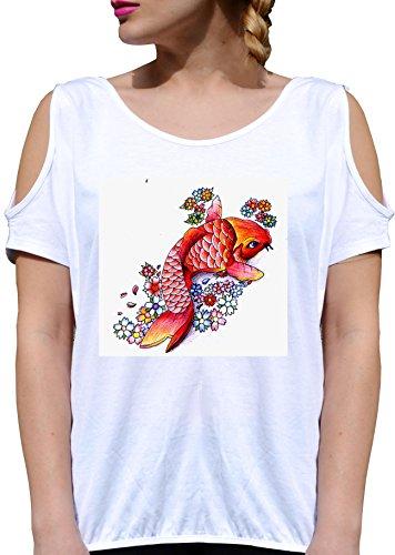 T SHIRT JODE GIRL GGG27 Z2004 JAPANESE FISH ART CARTOON FUNNY FASHION COOL BIANCA - WHITE XL
