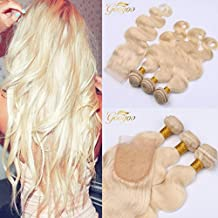 Googoo 100% Unprocessed Brazilian Real Human Hair 3 Bundles with 4*4 Lace Closure with Baby Hair,Body Wave ,Natural Color (16,18,20+14inches)