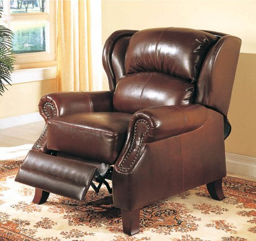 Recliner Chair with Windsor Wing Design in Brown Bycast ()