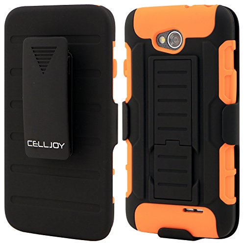 LG L70 Case CellJoy® [Future Armor] [Neon Orange] Hybrid Ultra Fit Dual Protection Cover Skin with Belt Clip Holster For LG Optimus L70 MS323 / Optimus Exceed 2 VS450PP Verizon / MetroPCS / Cricket [Retail Packaged] (Optimus L70 Orange Lg Case)