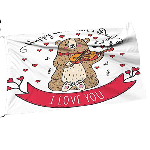(painting-home Garden Flag and Pole Set Bear Violin Made Romantic Music Not He Love You White Brown Double Sided Outdoor Holidays Yard Flags16 x 24