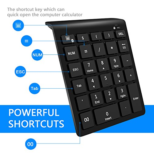 Rytaki Bluetooth Number Pad, Portable Wireless Bluetooth Keypad with Multiple Shortcuts- 28-Key Numeric Keypad Keyboard Extensions for Laptop, Tablets, Surface Pro, Windows, Smartphones and More-Black by Rytaki (Image #1)