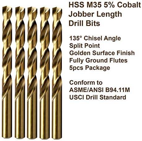7 Dia 0.201 Wire Gauge 2pcs Jobber Twist Drill Bits HSS M35 5/% Cobalt; JBN35G10R07P2 MAXTOOL No