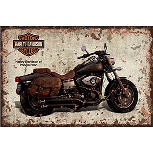 FlowerBeads Vintage Metal Tin Signs Retro Motorcycle Wall Plaque 12X8 Club Pub Bar Poster Decor