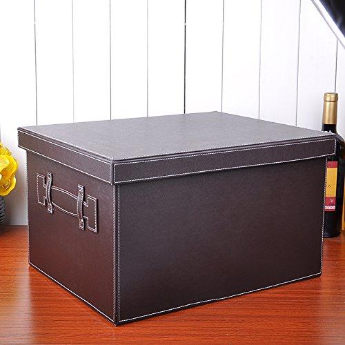 generic Leather covered sundries wardrobe storage box chest storage box storage toy clothes box,302620cm Brown
