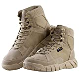 FREE SOLDIER Men's Tactical Boots 6' inch Lightweight Military Boots for Hiking Work Boots Breathable Desert Boots (Tan, 10.5)