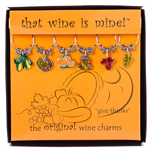 Thanksgiving Glass (Wine Things 6-Piece Give Thanks Wine Charms, Painted)