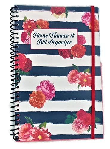 Home Finance & Bill Organizer with Pockets (Flowers on Black Painted Stripes)) (Bill Pocket Organizer)