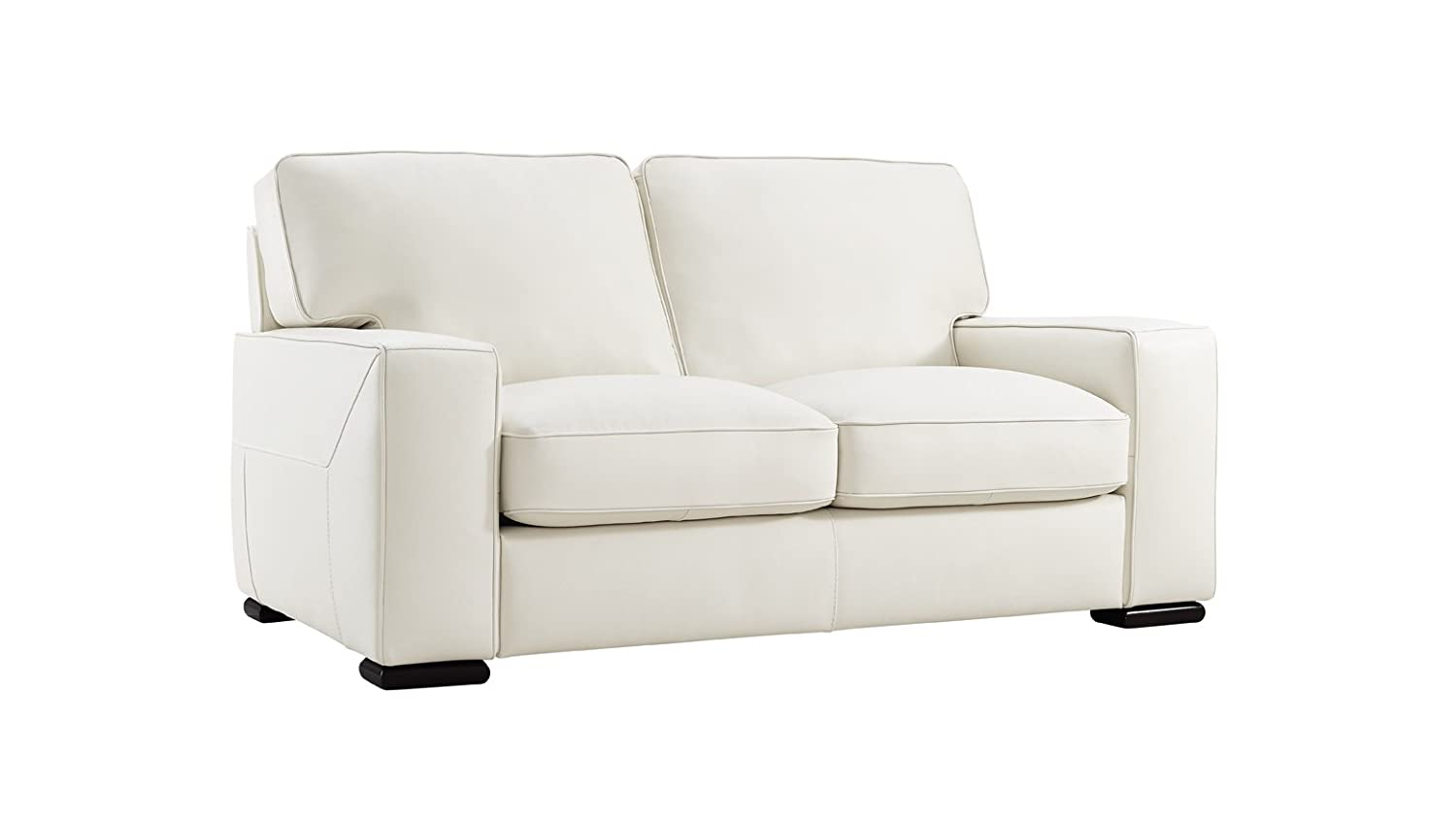 Natuzzi Editions Matera Cream Leather Stationary Loveseat
