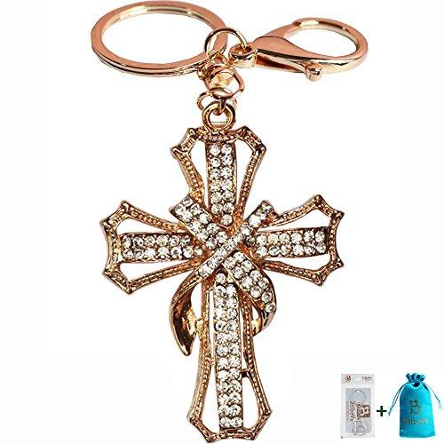Bolbove Blessed & Holy Cross Keychain Keyring Crystal Rhinestones Purse Pendant Handbag Charm (Clear)