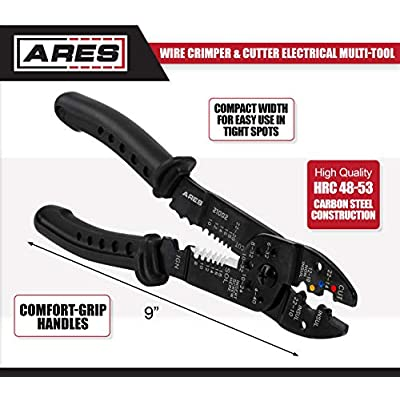 ARES 21002-9-inch Wire Stripper, Crimper, and Cutter Electrical Multi-Tool - Crimp Insulated, Non-Insulated and Ignition Terminals - Strip and Cut 8-22 AWG Stranded and 10-24 AWG Solid Wire: Home Improvement