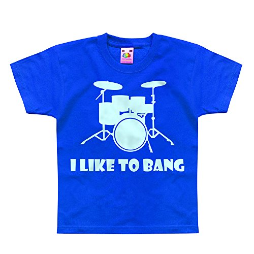Price comparison product image Nutees I Like To Bang Drummer's Drum Set Music Band Unisex Kids T Shirts - Royal Blue 1 / 2 Years
