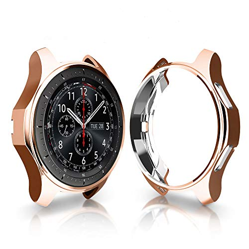 iHYQ Case for Samsung Gear S3 Frontier SM-R760/Classic,TPU Scractch-Resist Shock-Proof All-Around Protective Bumper Shell Protective Band Galaxy Watch SM-R800 46mm Smartwatch (Champagne Gold)