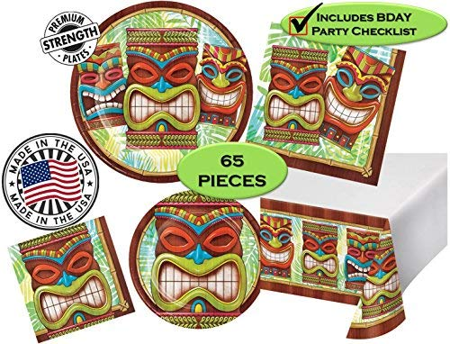 Tiki Plates - Tiki Time Luau Aloha Hawaii Party Pack - Dinner & Dessert Plates, Dinner & Beverage Napkins, Tableware - 65 Pieces - 16 Guests - Made in The USA