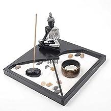 Zen Garden Sand Rock Rake Serenity Tray - Thai Buddha Meditating Statue - Tealight Candle / Incense Burner Holder