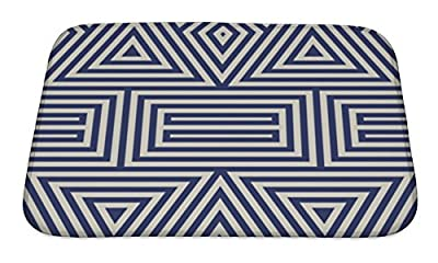 Gear New Bath Rug Mat No Slip Microfiber Memory Foam, Pattern With Symmetric Geometric Ornament Striped Navy Blue Abstract Repeated
