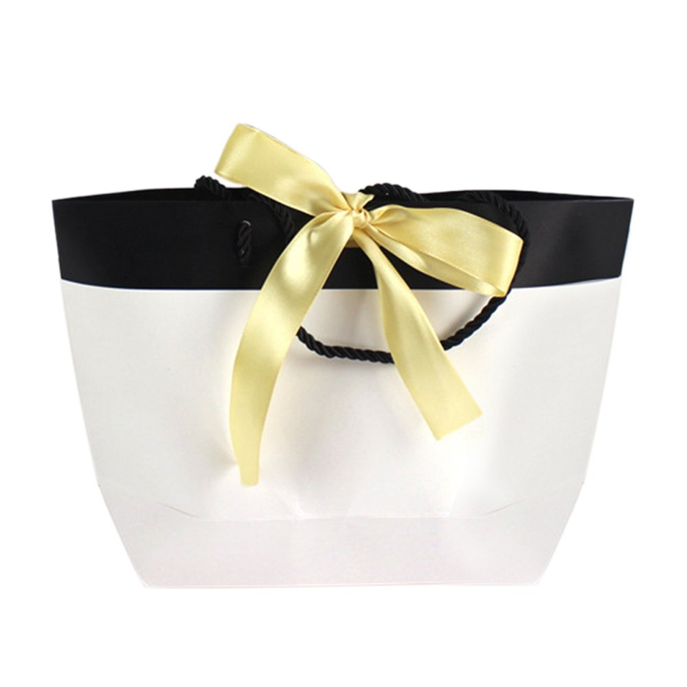(Price/10 PACK)Aspire Ribbon White and Black Paper Bags (S-XL)-L- 300 PACK