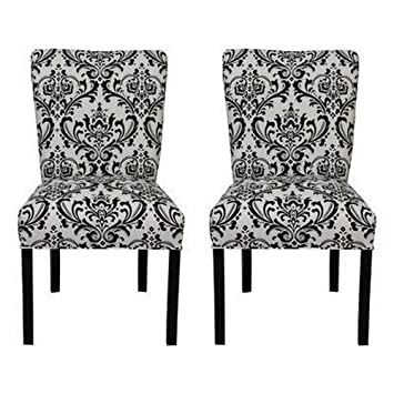 SOLE Designs Julia Collection Dining Chairs, A Set of 2 Upholstered Modern Dining Room Chairs, Side Chair, Traditions Grey Pattern