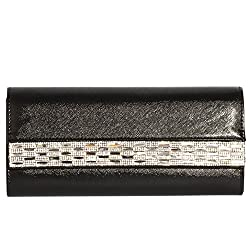Rectangle Shape Crystal With Leather Clutch