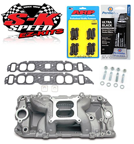 Edelbrock 7561 Performer RPM Air Gap Intake Manifold w/Bolts/Gaskets/RTV - BBC Oval Port