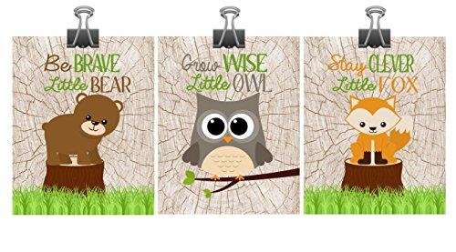 Set of 3 Woodland Nursery Wall Art - Fox Owl Bear - Stay Clever Little Fox, Grow Wise Little Owl, Be Brave Little (Clever Art)