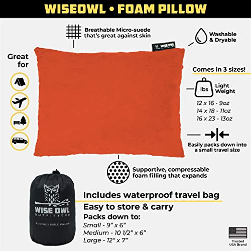 Wise Owl Outfitters Camping Pillow Compressible Foam Pillows – Use When Sleeping in Car, Plane Travel, Hammock Bed & Camp – Adults & Kids – Compact Small & Large Size – Portable Bag – SM Orange