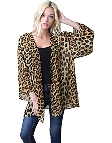 8377d5b0dc85 Leopard Thin Chiffon Loose fit Kimono Sleeve Cardigan Cover up and Robe