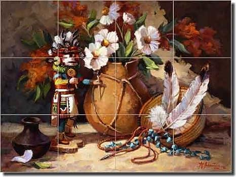 Desert Beauty by Maxine Johnston Southwest Native American Ceramic Tile Mural 17 x 21.25 Kitchen Shower Backsplash