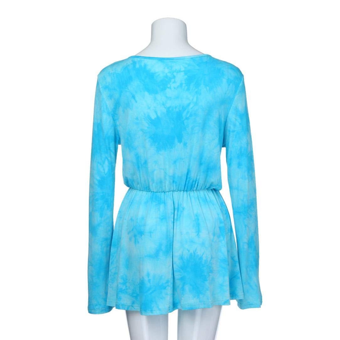 Tsmile Women Blouse Clearance Fashion V-Neck Tie-Dye Print Long Sleeve Tops Pleated Waist Line Tunic Shirt by Tsmile (Image #4)