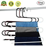 S-type Metal Pants Hangers,Closet Storage for Jeans Trousers Space Saver Storage Rack(Set of 4)