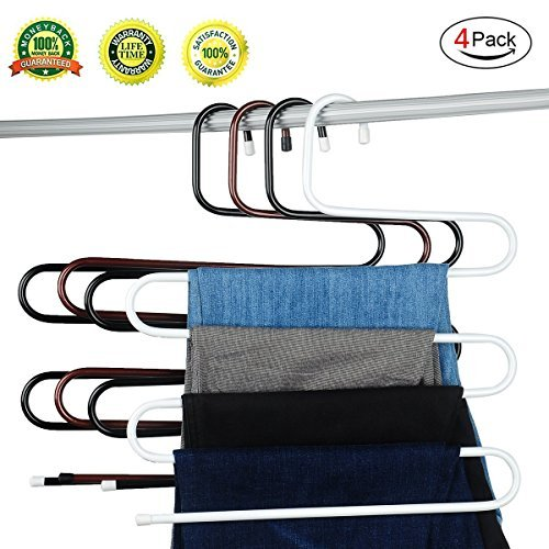 S-type Metal Pants Hangers,Closet Storage for Jeans Trousers Space Saver Storage Rack(Set of - Saver Shipping Is What