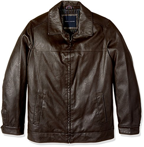 Tommy Hilfiger Men's Big & Tall Smooth Faux Leather Classic James Dean Jacket, Dark Brown, 4X BIG (Leather Jacket Men Dean)